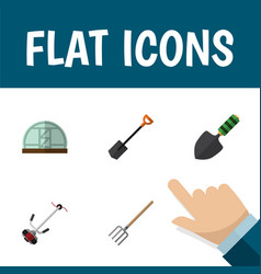 flat icon dacha set of trowel hothouse grass vector image