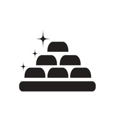 Flat icon in black and white gold bullion vector