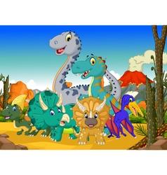 funny dinosaur cartoon with volcano background vector image