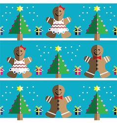 Geometric xmas pattern with ginger bread man vector