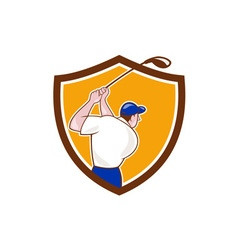 Golfer swinging club crest cartoon vector