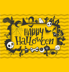 happy halloween banner with characters vector image vector image