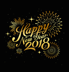 Happy new year with firework gold vector