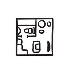 House interior with furniture sketch icon vector