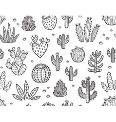 ink seamless pattern with cactuses vector image