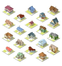 isometric image of a private house set vector image vector image