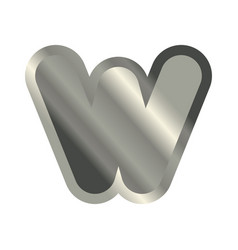 Letter w steel font metal alphabet sign iron abc vector
