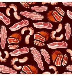 Meat sausages bacon seamless background vector