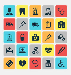 Medicine icons set collection of beating cure vector