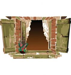 old fashioned window with flower vector image vector image