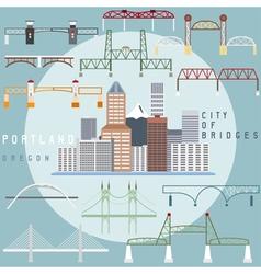 Portland oregonusa flat design of business center vector