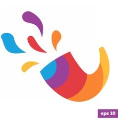 Rainbow bright logo of shofar vector