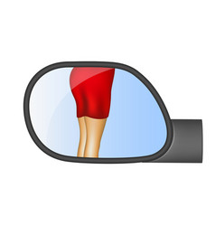 Rear view mirror reflected sexy women legs vector