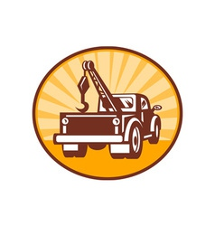 Rear view of a tow or wrecker truck vector image