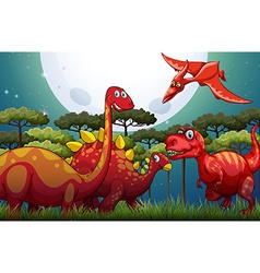 Red dinosuars under full moon in nature vector