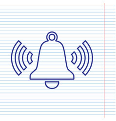 Ringing bell icon navy line icon on vector