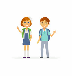 School children - characters of happy boy and girl vector