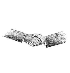 Sketch of hand shake between two businessman vector