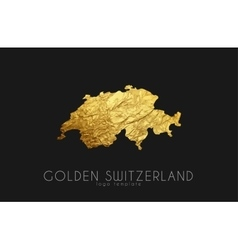 Switzerland map golden switzerland logo creative vector
