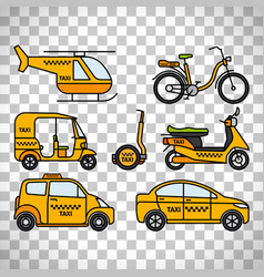 taxi types icons on transparent background vector image
