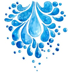 Watercolor drops of water vector