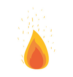 White background with flame and fire sparks vector