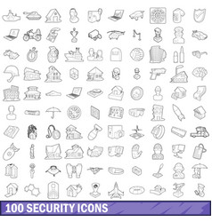 100 security icons set outline style vector