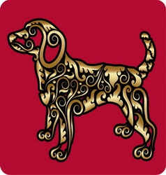 Golden dog ornament vector