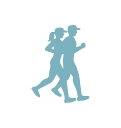 Run couple blue silhouette vector