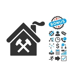 Forge building flat icon with bonus vector