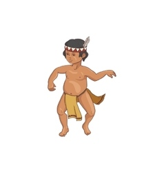 Native american dancing indian boy in traditional vector