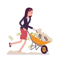 Businesswoman pushing a wheelbarrow full of money vector