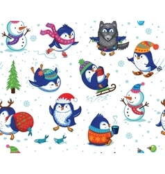 Seamless pattern with funny penguins isolated on vector