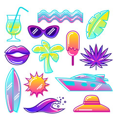 Set of stylized summer objects abstract vector