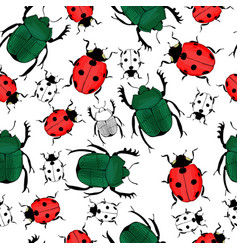 hand drawn insects seamless pattern vector image