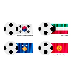 Soccer ball with south korea kuwait kosovo flag vector