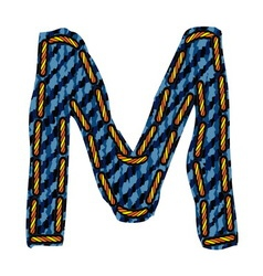 Farmerke tekstura slovo M vector image