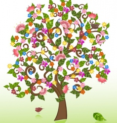 summer abstract floral tree vector image