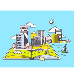 Cartoon open book with modern city on blu vector