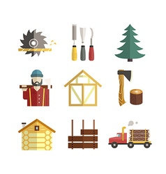 Timber industry icons vector