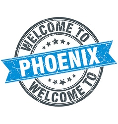 Welcome to phoenix blue round vintage stamp vector