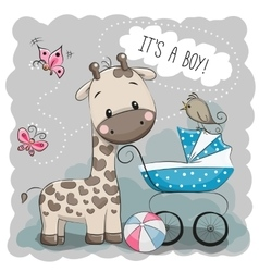 Baby carriage and Giraffe vector image