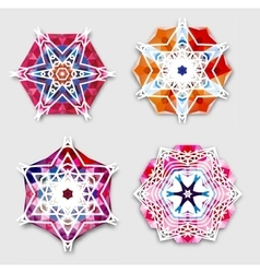 Abstract colorful snowflakes with 3d effect logo vector