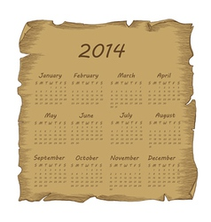 aged scroll calendar 2014 vector image