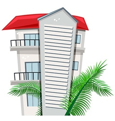 Apartment building and palm leaves vector image vector image