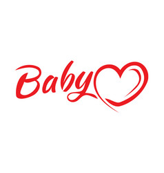 baby word with a heart icon vector image vector image