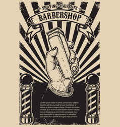 Barber shop poster template human hand with hair vector