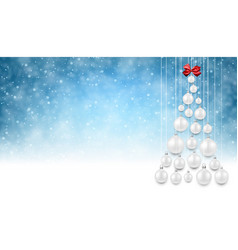 blue background with white christmas tree vector image vector image
