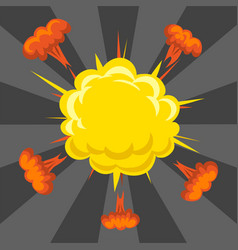 Cartoon explosion boom effect animation game vector