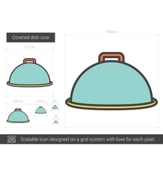 Covered dish line icon vector